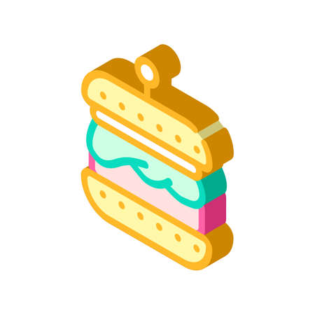 hamburger with vegan cutlet isometric icon vector illustration