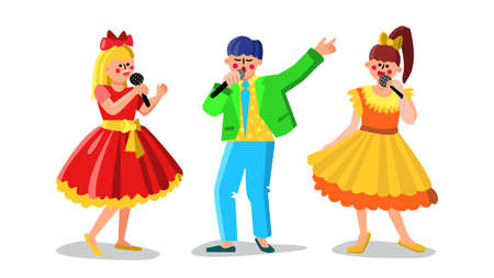 Man And Women Performing Song In Choir Vector