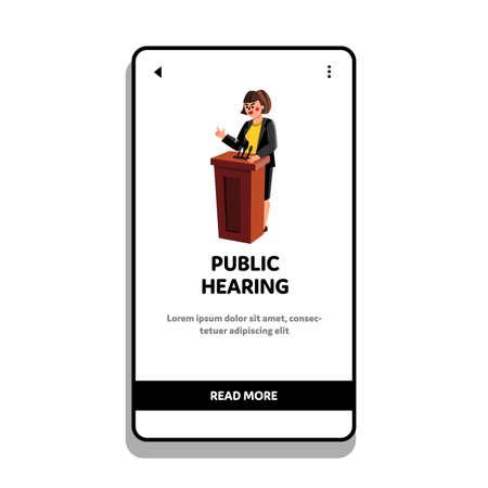 Public Hearing Woman Speaker At Pedestal Vector