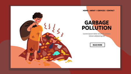 Garbage Pollution Global Ecological Problem Vector Illustration Stock Illustratie