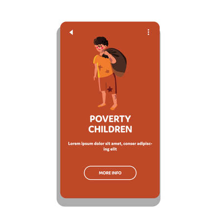 Homeless Poverty Children Social Problem Vector Illustration