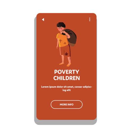 Homeless Poverty Children Social Problem Vector Illustration