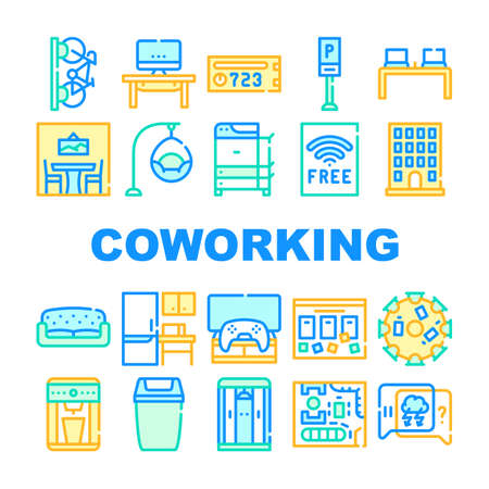 Coworking Work Office Collection Icons Set Vector 向量圖像