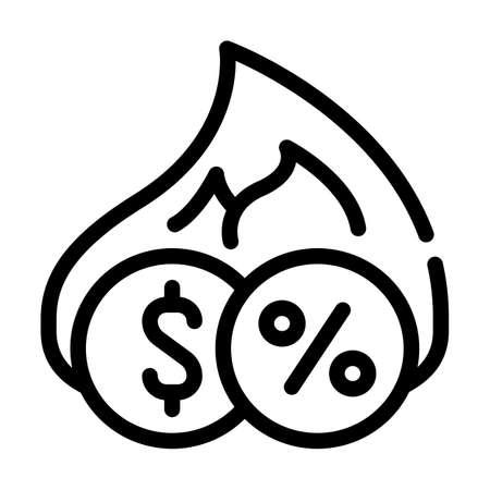 cashback percentage line icon vector black illustration 矢量图片