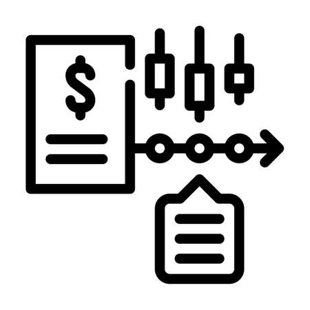 financial time series data analysis line icon vector illustration Vecteurs