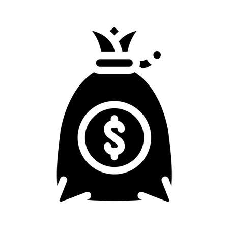 money bag glyph icon vector black illustration