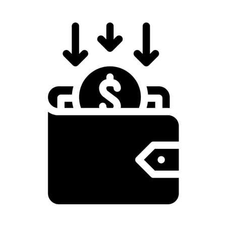 back money in wallet glyph icon vector illustration