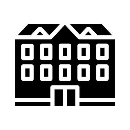 school building glyph icon vector black illustration
