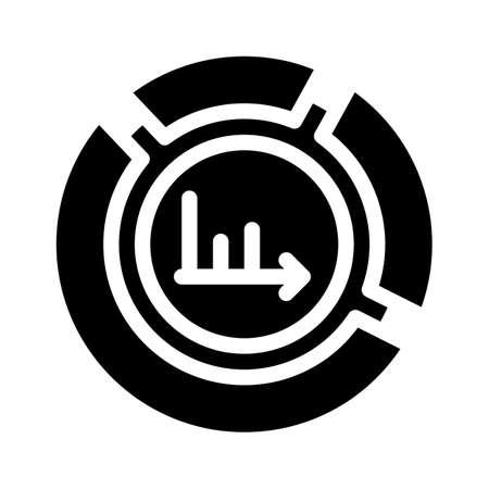 pie chart glyph icon vector black illustration
