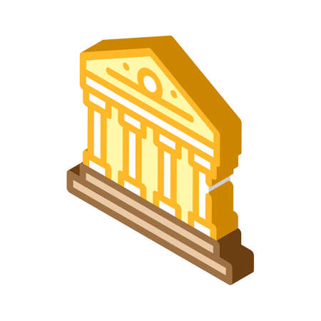 government building isometric icon vector color illustration