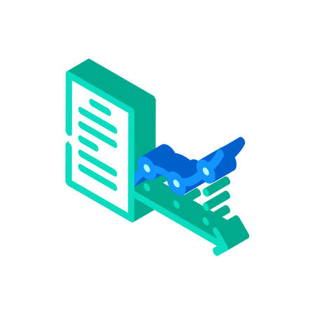 report analysis isometric icon vector color illustration