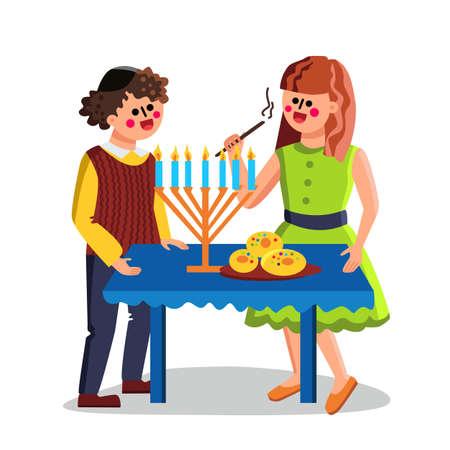Hanukkah Jewish Holiday Celebrate Couple Vector Illustration Vetores