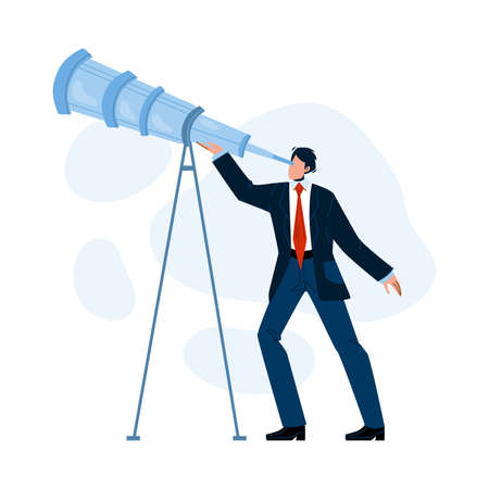 Visionary Businessman Looking Into Spyglass Vector Illustration 向量圖像