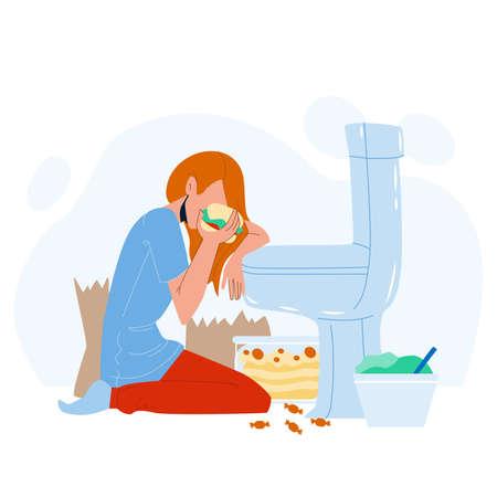 Woman Nutrition Disorder Bulimia Problem Vector Illustration