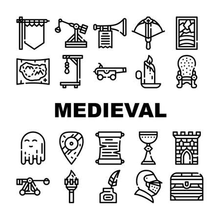 Medieval Middle Age Collection Icons Set Vector