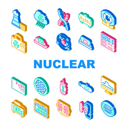 Nuclear Energy Power Collection Icons Set Vector