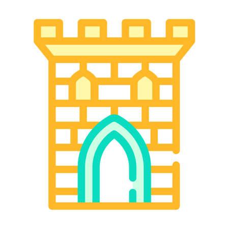 castle tower color icon vector flat illustration Illustration