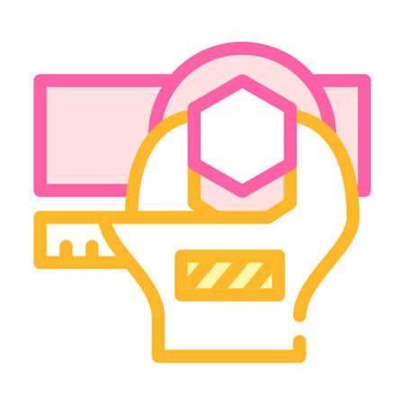 bolt tightening color icon vector flat illustration