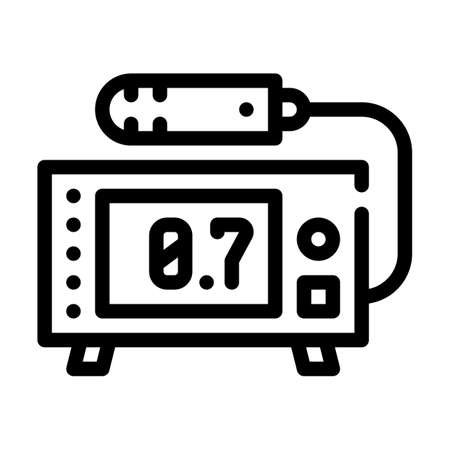 geiger counter line icon vector black illustration