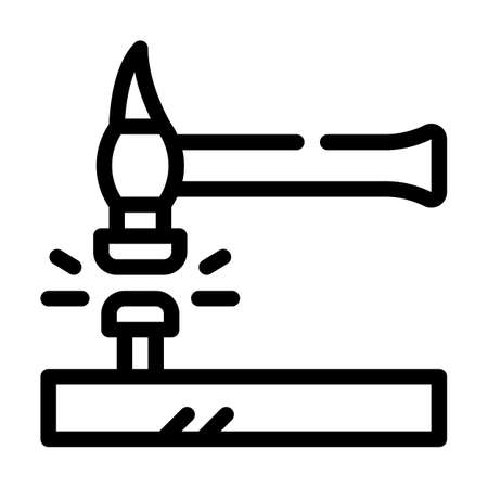 nail hammering line icon vector black illustration