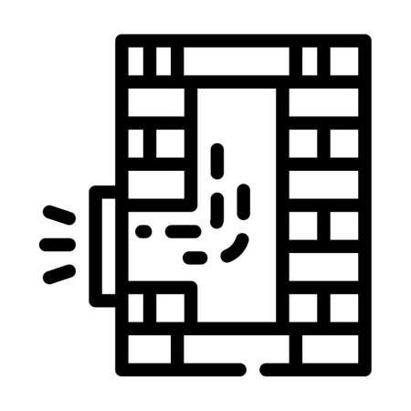 pipe repair line icon vector black illustration