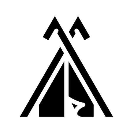 viking house glyph icon vector black illustration
