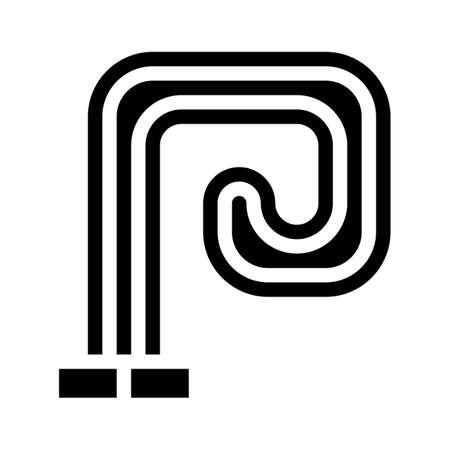 floor heating glyph icon vector black illustration Ilustração