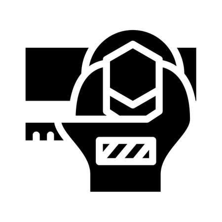 bolt tightening glyph icon vector black illustration