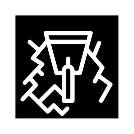 wall gaps plaster glyph icon vector illustration
