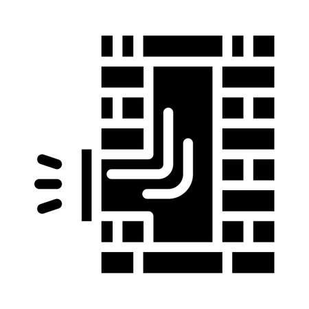 pipe repair glyph icon vector black illustration Ilustração