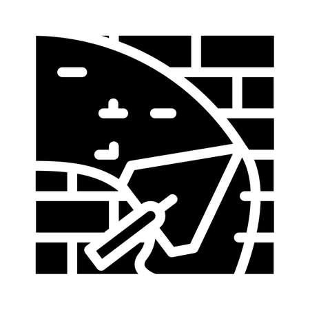 wall plaster glyph icon vector black illustration