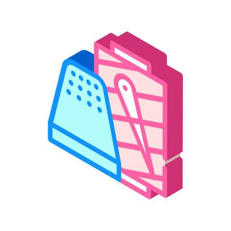 thimble with thread isometric icon vector illustration