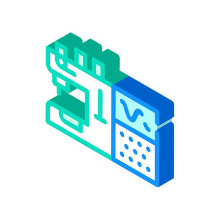 sewing machine with programmable embroidery isometric icon vector illustration