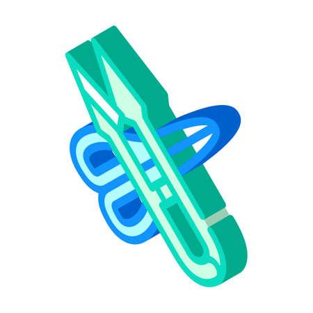 different scissors isometric icon vector sign illustration