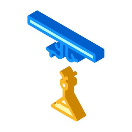 chandelier installation isometric icon vector sign illustration