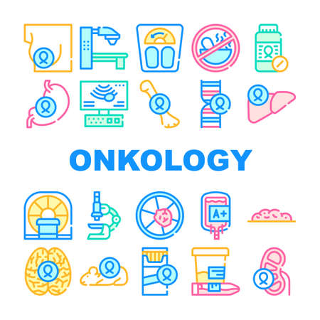 Oncology Examination Collection Icons Set Vector Illustrations