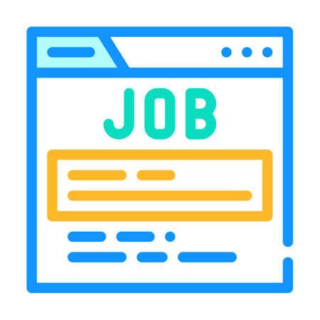job search web site color icon vector illustration