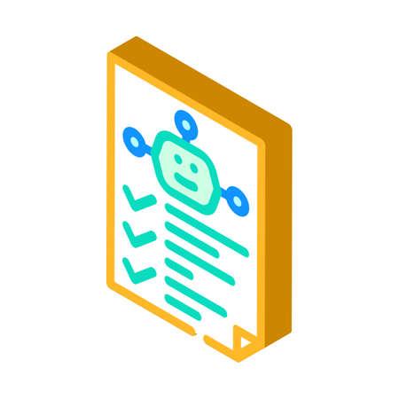robot task list isometric icon vector illustration