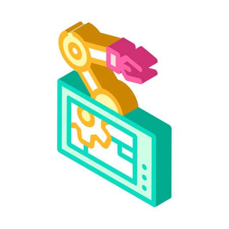 robotic arm mechanism isometric icon vector illustration