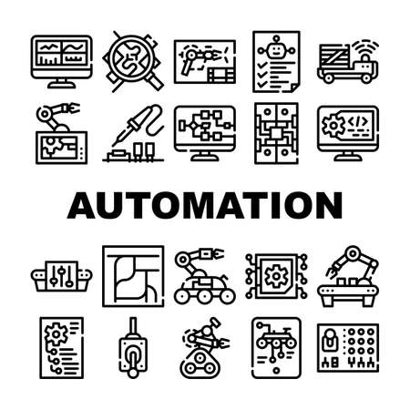 Automation Engineer Collection Icons Set Vector Illustrations