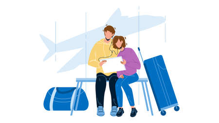 Couple Waiting Flight In Airport Terminal Vector