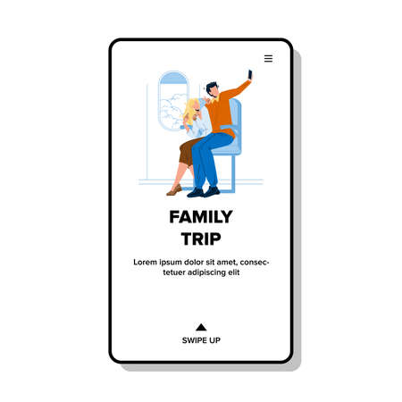 Family Trip In Airplane Summer Vacation Vector