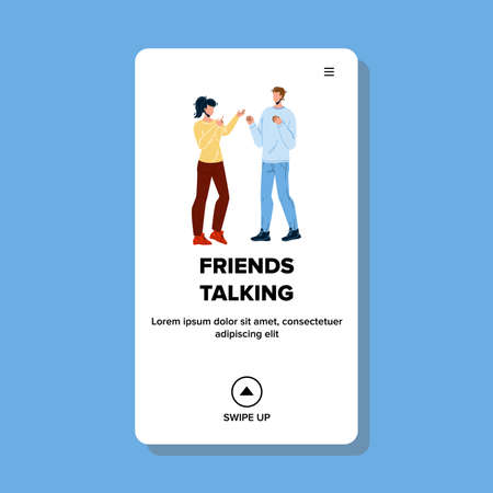Man And Woman Friends Talking Together Vector