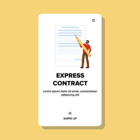 Express Contract Signing Young Businessman Vector Illustration