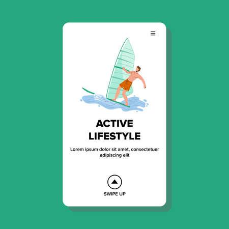 Active Lifestyle Windsurfing Extreme Sport Vector Illustration