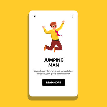Jumping Man Businessman Joyful And Happy Vector