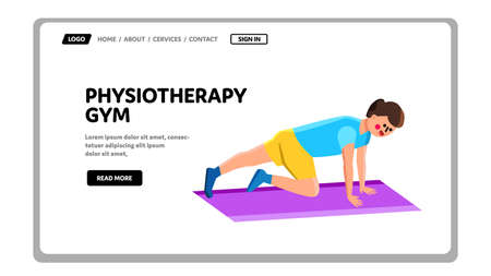 Physiotherapy Gym Exercising Young Man Vector Illustration