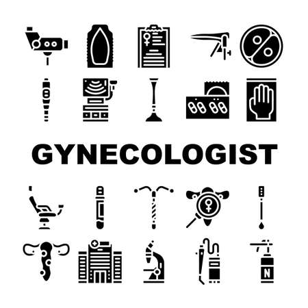 Gynecologist Treatment Collection Icons Set Vector Illustration