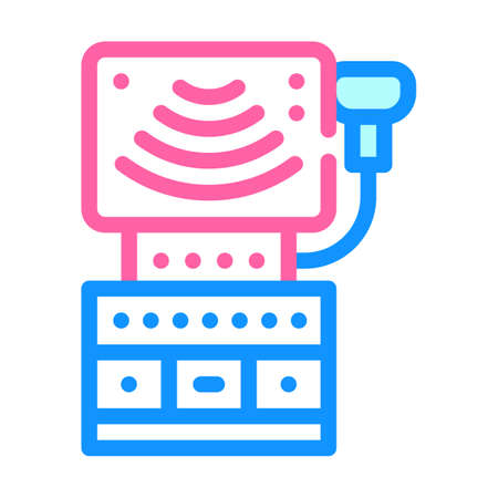 ultrasound equipment color icon vector illustration sign 向量圖像