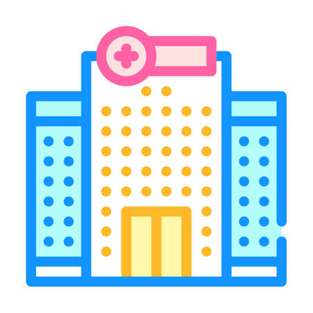 hospital building color icon vector illustration sign
